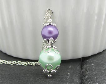 Pastel Pearl Bridal Necklace, Mint and Purple Bridesmaid Jewellery, Bridal Party Gifts, Mint and lavender Pearl Sets, Lavender Wedding