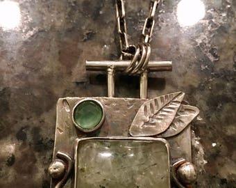 Sterling Silver Necklace, Prehnite,  Artisan Jewelry, Jewelry Art, Handmade, Metalsmith, OOAK, Silversmith, hand forged, hammered BOHO