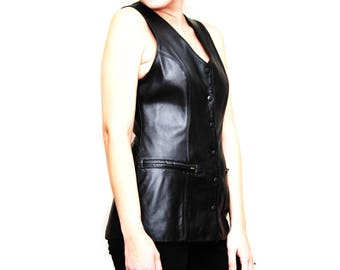 Ladies Long Black Leather Vest - Designer - Runway Fashion - Womens Sexy Black - Drop Waist - 2 Pockets - Fitted Hips