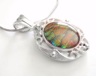 Ammolite Silver Necklace, 1 Inch Canadian Ammolite Sterling Pendant with Silver Chain, Ladies Fine Jewelry