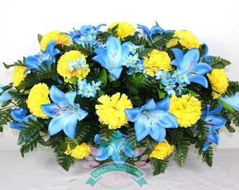 XL Beautiful Blue Lilies And Yellow Carnations Tombstone Saddle Arrangement