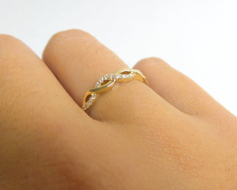 Diamond Wedding Infinity Band 14K Gold Diamond Infinity Ring