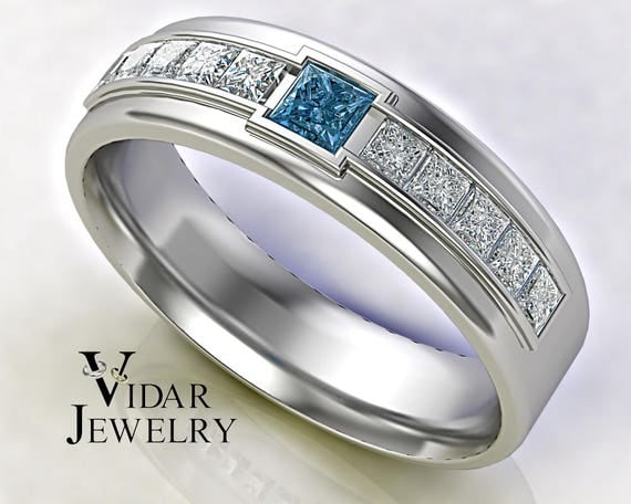 Mens Wedding Band Blue Diamond 14k