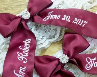 Wine Wedding Garter, You're Next Bridal Garter, Embroidered Wedding Garter, Red Wedding Garter, Garter Set, Keepsake Garter, Toss Garter