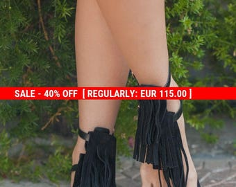 Black Suede fringe sandals, black leather sandals, women's handmade fringe sandals, black suede and leather fringe sandal, flats, le
