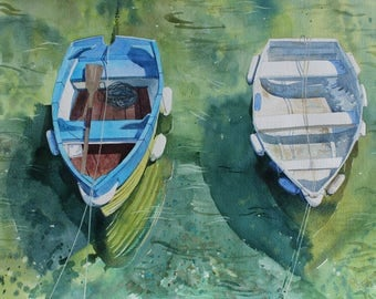 SALE Original watercolour painting of boats, Porthleven, Cornwall, boats in harbour, rowing boats, boat painting