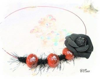 fur collar black/rougefleur leatherette CO562