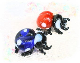 glass decorative blue and Red ladybugs