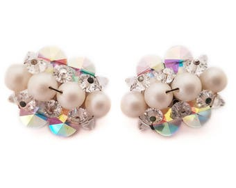 White 1950s Cluster Earrings, Pearl and Aurora Borealis Beads