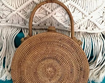 Handmade Rattan|Ata Grass Round bag; Bali bags; Crossbody; ; Boho bag; Hippie Bags; Made from Bali, Indonesia