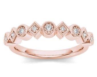 10Kt Rose Gold Diamond Wedding Band