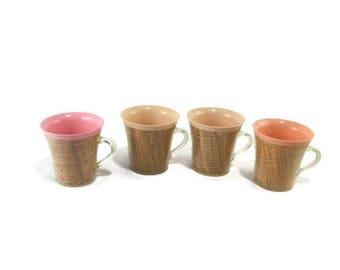 Vintage Raffia Ware Coffee Mugs