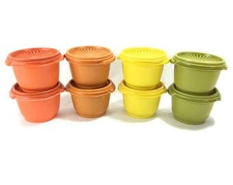 Vintage Tupperware #886 Storage Container & Lid * Kitchen Storage Container * Bright Orange * Pumpkin Orange * Yellow * Avocado Green
