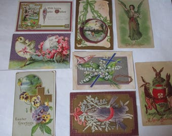 lot of 8 Vintage 1900s  Easter Greetings postcards tulips rabbits cross crown of thorns