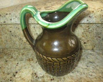 Vintage Brinn's green and olive basket weave pitcher Pittsburgh PA made in Japan