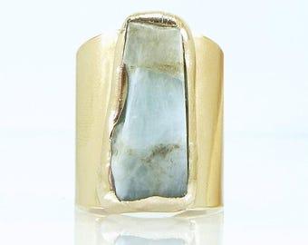SUMMER SALE- Raw Aquamarine Ring, March Birthstone, Cocktail Ring, Statement Ring, Aquamarine, Raw stone, Aquamarina Ring, Raw Crystal Ring,