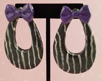 Large Teardrop Hoop Earrings, Black and White Stripes, Purple Bows, Cosplay, Jack, Resin