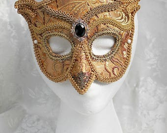 Gold Brocade Owl Mask, Gold Brocade Over Leather Owl Masquerade Mask, Owl Masquerade Ball Mask