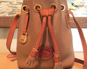 Dooney and Bourke Small Drawstring Crossbody Purse Taupe