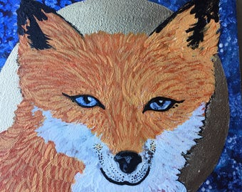 Starry eyed fox painting