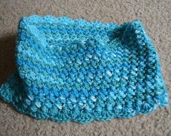 Handmade Sea Blues Crochet Star Stitch Cowl Winter Scarf