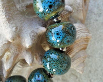 Pottery Bead Bracelet, blue green speckle, ceramic beads, large chunky beads, stoneware pottery beads, stainless steel toggle clasp, boho