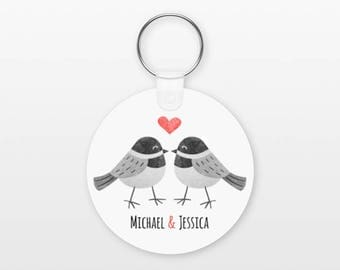 Chickadee Bird Keychain Couple Keychain Personalized Keychain Girlfriend Keychain Boyfriend Keychain Animal Keychain Key Chain Keyring