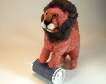 Lion/orange brown lion/nursery ornament/hanging lion ornament/needle felted lion/wool felt lion/cute hanging ornament lion/gift for her