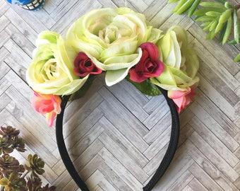 Frida Kahlo Head Band, Day of the Dead Headband, Dia de los Muertos Headband, Floral Headband, Wedding Headband, Flower Girl Headband