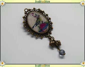 Bird brooch charm retro vintage White Pink Blue Pearl resin