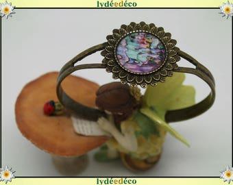 Green Blue Pink mother of Pearl resin bracelet bronze brass adjustable 20 mm