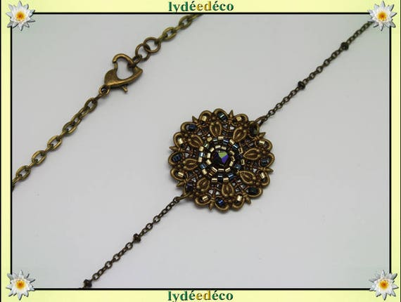 Vintage flower headband print and black gold glass beads bronze