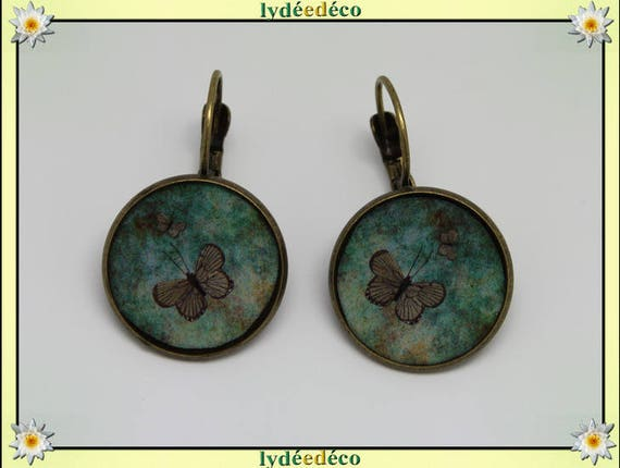 Sleeper earrings retro vintage Brown resin Green Butterfly brass Locket 20mm round