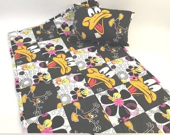 Daffy Duck, Doll Quilt, Doll Quilt Pillow, Daffy Duck Fabric, Tweety Bird, Girl Gift, 18 inch doll quilt, Quilt and Pillow