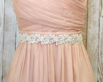 Ivory Pearl Beaded Embroidery Lace Wedding Sash Belt, Bridal Wedding Belt, Bridesmaid Sash, Flower Girl Sash Belt, Ivory Lace Sash Belt