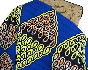 African Wax Print Fabric--Ankara Print Fabric--Royal Blue, Yellow, Orange and Black Geometric Print Fabric--African Fabric by the HALF YARD
