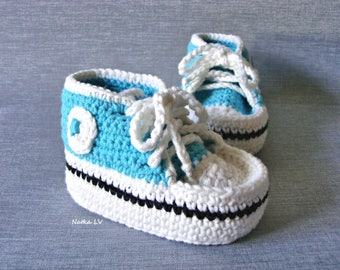 Light blue baby booties, baby crochet sneakers, baby summer booties, baby boy shoes, blue booties, baby foot wear, newborn baby boy booties