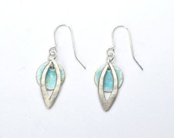 Leaf Outline Drop Earrings With Pastel Blue Disc | Dangle Earrings | Blue | Leaf Earrings.