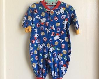VTG Snoopy Baby Boy Romper Pants Blue Red Blocks Sz 6M