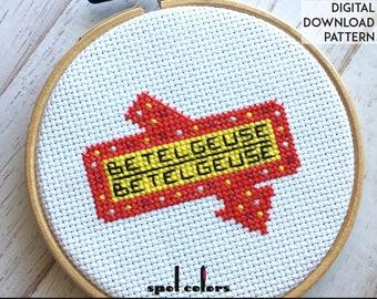 Beetlejuice Betelgeuse Movie Film Counted Cross Stitch PATTERN DIGITAL DOWNLOAD Beginner