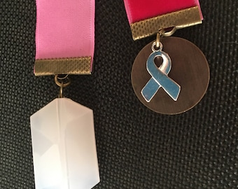 Pink Cancer Velvet Ribbon Bookmark