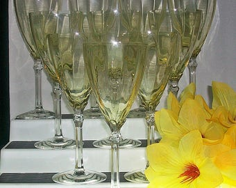 Set of 10 Fostoria Topaz / Yellow Water Goblets