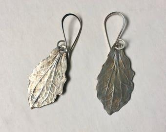 new artisan sterling leaf earrings