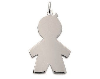 Pendant engraved boy Silver 925/000