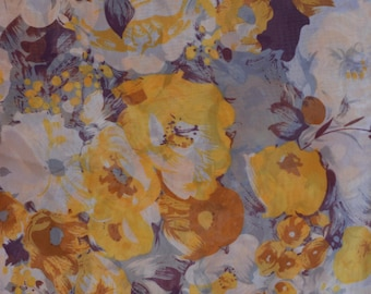 Yellow, gray, and purple floral chiffon fabric