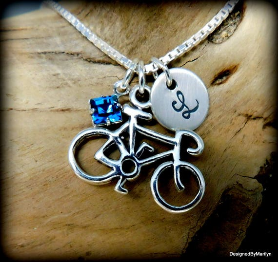 Sterling silver bicycle necklace, initial disk necklace, sporty necklace, winner token, cycling
