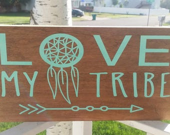 Family, Tribe, I love my tribe, wood sign, home decor, photo gallery, wall decor, hand painted
