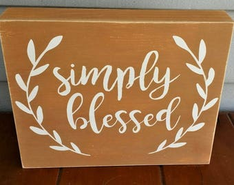 Simply blessed, Autumn, Fall, wood sign, home decor