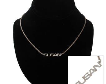 Susan Silver Tone Name Pendant Necklace Jewelry Vintage 1970s