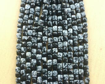 Black Flake Obsidian Cube shape faceted beads strands 7 mm length 10 inch
